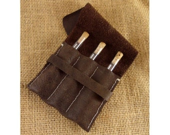 Potion Vial Case with 3 Glass Tubes - Brown Leather for LARPS and Costumes Alchemist Kit