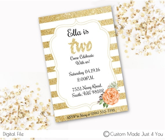 gold glitter two birthday invite
