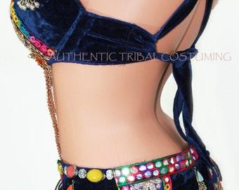 Midnight Blue Nawaar Jeweled Belly Dance Bra