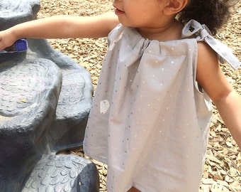 Baby/ toddler girl silver heart gray summer top • Made to order