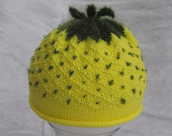 Knit cotton baby pineapple hat. Size 6-12 months.