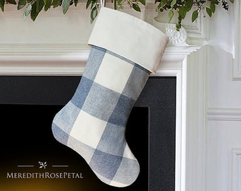 Blue Christmas Stocking, Blue Stocking, Blue Christmas, Blue and White Stocking, Blue Stockings, Blue Denim Stocking