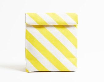 Kamibukuro/Stripe-Dandelion/paper bag shape multipurpose pouch, travel goods organizer