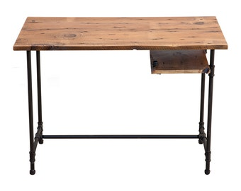 Industrial Reclaimed wood and Steel desk with shelf