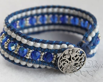 Bracelet Triple strand blue
