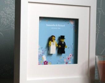 0019LW Bride & Groom LEGO® Wedding customisable Wall Art Frame