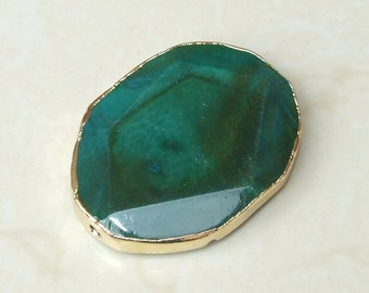 Teal Green Blue Agate Druzy Faceted Bead  - Teal Druzy Slab Bead - Druzy Agate Pendant - Gold Edge - 42mm x 56mm - 7221