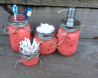 Mason Jar Bathroom Set of 4