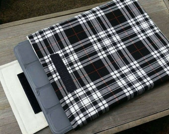 Black and white padded tartan iPad sleeve cover case with Velcro flap closure