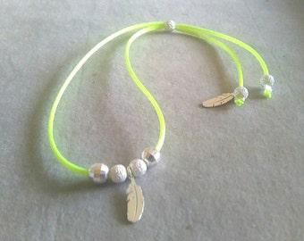 Fluorescent yellow ankle bracelet