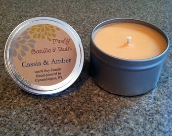 Cassia and Amber - 6 oz. Scented Soy Candle Tin