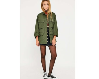 New Unissued Women's US army oversized live BDU jacket coat ripstop khaki