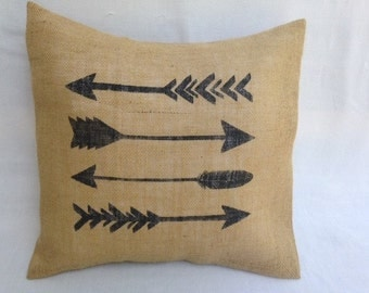 Arrow Pillow, Burlap Pillow, Burlap Pillow, Throw Pillow, Decorative Pillow, Pillow Case, Arrow