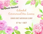 Extended Commercial Use License for 1 Set of Corner Croft Watercolor Clipart