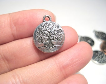 Antique Silver Round Tree Charms Pendants Double Sided Chrams