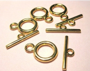 20% OFF SALE- 10 sets Gold Plated Toggle Clasps 14x19mm