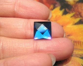 36pcs Clear Blue Vintage Faceted Square Rhinestone Flatback Cabochons