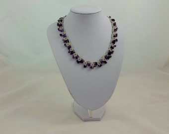 tatted necklace/ lace jewelry/ choker/ tatted jewelry/ amethyst jewelry/ amethyst necklace/ lace jewelry/ beaded necklace