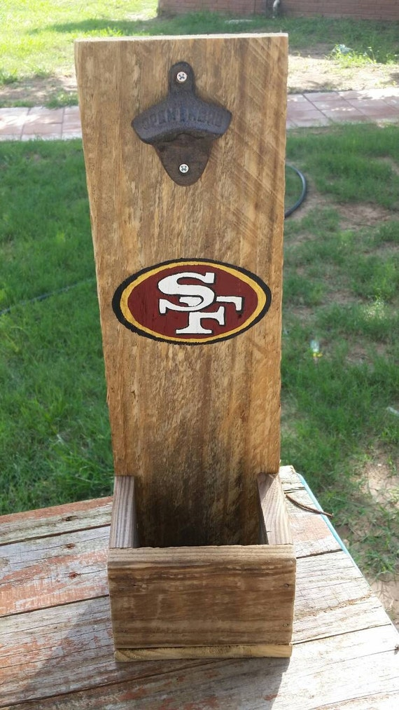 Items similar to san francisco 49ers bottle opener hand for Reclaimed wood san francisco