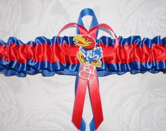 University of Kansas Jayhawks Satin Wedding Bridal Garter Toss Prom Double Heart and Jayhawks Logo