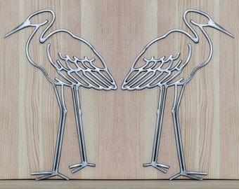 Metal Crane Outline, Crane Sculpture, Metal Wall Art, Metal Animal Art, Welded Animal, Welded Bird, Bird Lover, Blue Heron Art, Welded Heron