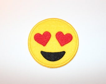 Heart Eyes Emoji I Love You Happy Face Patch Iron On Sew On Felt Patch