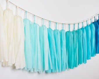 Ombre Blue Tassel Garland, Blue Garland, Ombre Garland, Ombre Wedding, Blue Wedding Garland, Blue Nursery Garland, Blue Baby Shower Garland
