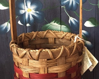 Handmade Basket,Single Wine Basket, Gift Basket, Made in USA