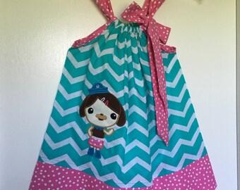 Custom Made Pillowcase Dress-Turquoise Chevron with Dashi of Octonaut Machine Embroidered Applique & Pink Irreg Dot Hem and Ribbon- NB-8y/o