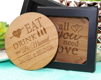 Engraved Wooden Round Wedding Coasters, Gift Box Option + FREE SHIPPING - QTY 25, 50, 75, 100, 150, 200