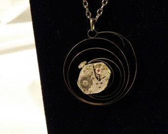 Christmas Sale - Steam Punk Watch Movement Necklace - ALARM SPRING