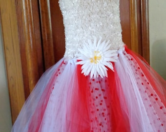 Red and White Tutu Dress Ready to ship in size 7 - 10