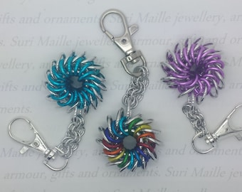 Whirlybird chain maille key chain/ring/fob or bag charm