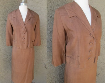 Bruised 40s Brown Suit, Jacket and Skirt Tailored Top Pencil Skirt Elegant Sz Sm