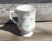 Vintage Bone China Floral Footed Mug Royal Victoria Made in England