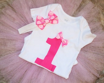 1st Birthday shirt bodysuit Pink ONE first birthday baby girl toddler birthday outfit shirt ONE 1st bday Baby Girl 1st Birthday