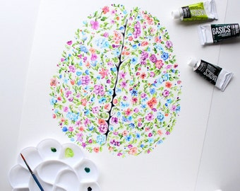 The Floral Brain Original Artwork -Wall Art