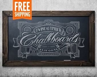 Standard Rustic Framed Chalkboard - Dark Walnut