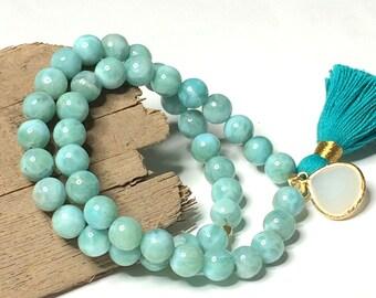 Ocean Blue Genuine Dominican Larimar Stretch Bracelet - Beaded Tassel Bracelet, Gemstone Stretch Bracelet, Larimar Jewelry, Boho Bracelet