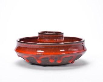 Vintage Mid Century Modern Danish Modern Danish Design Holbaek Studio Orange Drip Fat Lava Studio Art Pottery Candle Holder