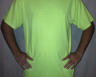 Yellow tee, glow shirt, UV reactive, UV tee, blacklight tee, Lazerglo