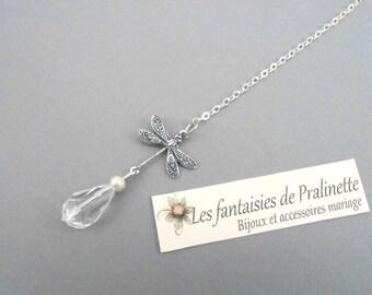 Bijoux mariage de dos, pendant libellule et cristal sur fine chaine - Bridal backdrop necklace crystal
