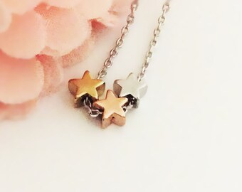 362. Gold, Pink, Silver color Trio Star with Silver color chain Necklace, Cute ,Simple mini 3 star, trio star  Necklace - Choose your Length