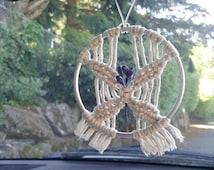 Car charms. Blue butterfly macrame hanger. Macrame