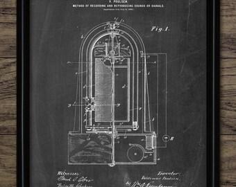 Vintage Microphone Patent Print - 1900 Microphone Design - Poulsen Microphone - Recording Gift Idea - Single Print #1374 - INSTANT DOWNLOAD