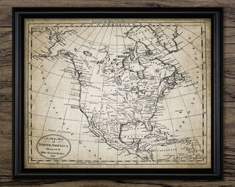 Map Of North America Print - North America Chart - Map Decor - Chart - Digital Art - Printable Art - Single Print #546 - INSTANT DOWNLOAD