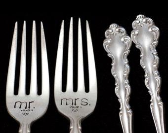 Mr Mrs Fork, Stamped Vintage Forks, Something Old Engraved Wedding Silverware Dinner Fork Engagement Gift Ornate Silverware