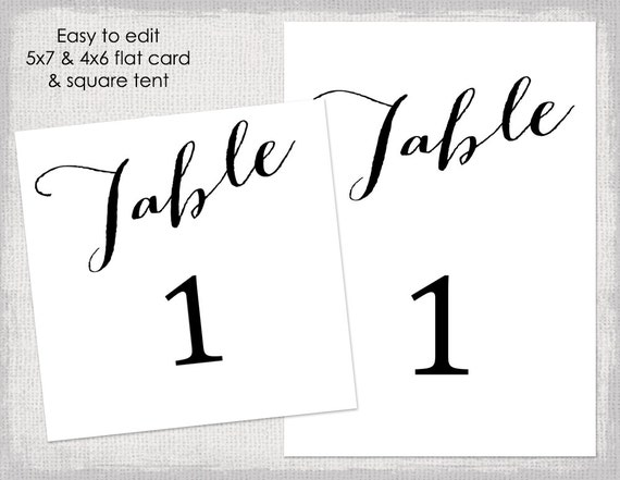 4x6 table tent template - table numbers printable card template diy black script