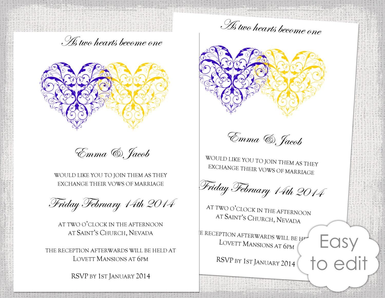 printable heart wedding invitation template romantic royal. Black Bedroom Furniture Sets. Home Design Ideas
