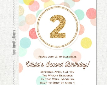 2nd birthday invitations for girls, gold glitter 2 birthday party invite, coral peach mint turquoise yellow, customized digital invitation